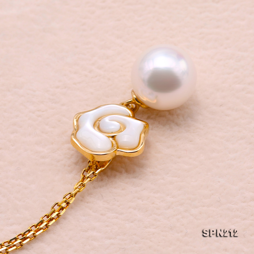 Gorgeous 8-8.5mm White Akoya Pearl Pendant in 18k Gold big Image 6