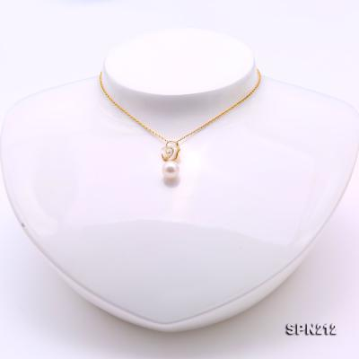 Gorgeous 8-8.5mm White Akoya Pearl Pendant in 18k Gold SPN212 Image 2