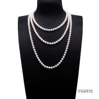 Classical 7.5-8mm White Round Pearl Long Necklace FNO912