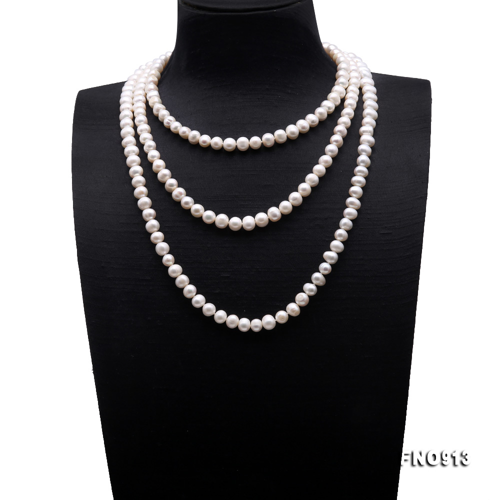 9-10mm White Freshwater Pearl Long Necklace big Image 1