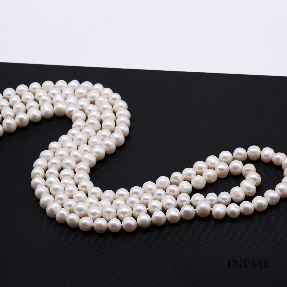 9-10mm White Freshwater Pearl Long Necklace big Image 4