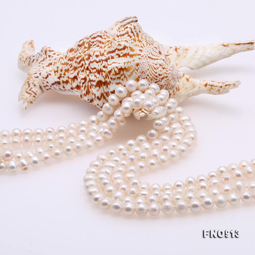 9-10mm White Freshwater Pearl Long Necklace big Image 5