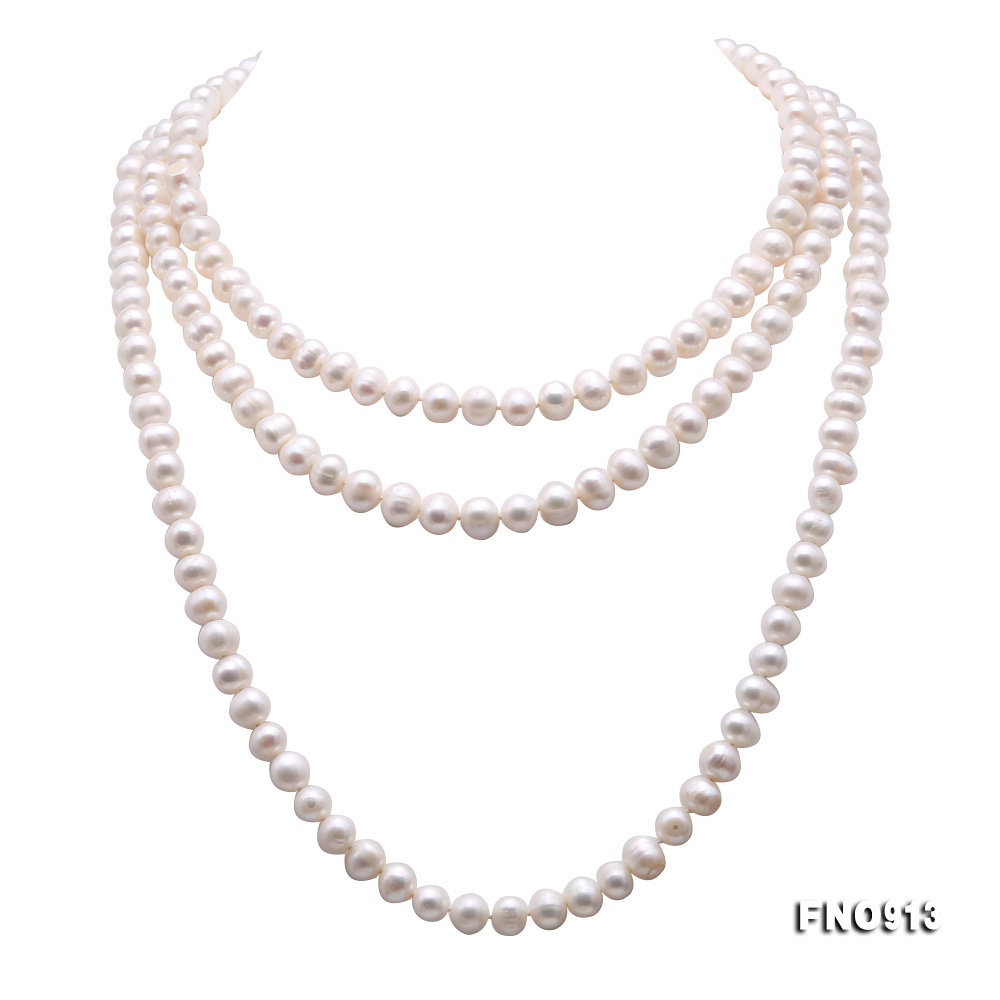 9-10mm White Freshwater Pearl Long Necklace big Image 7