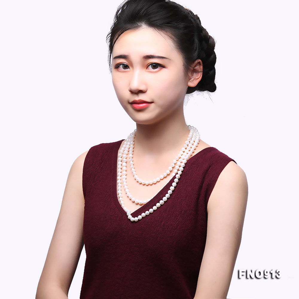 9-10mm White Freshwater Pearl Long Necklace big Image 8