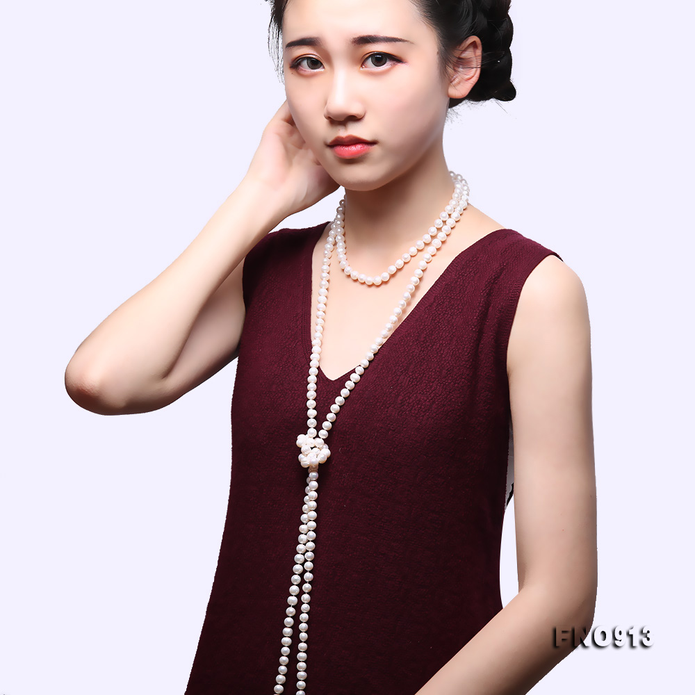 9-10mm White Freshwater Pearl Long Necklace big Image 9