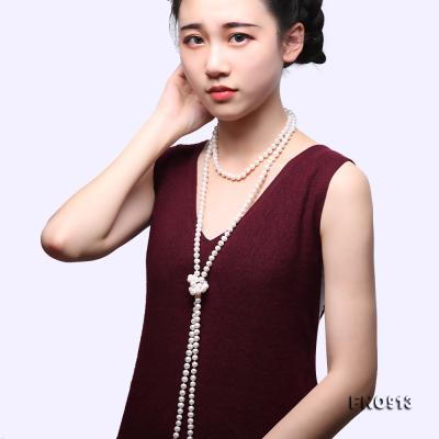 9-10mm White Freshwater Pearl Long Necklace FNO913 Image 9