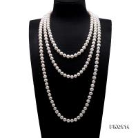 Classical 10-11mm White Round Pearl Long Necklace FNO914