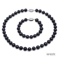 Beautiful 11-12mm Black Pearl Necklace and Bracelet RPS272
