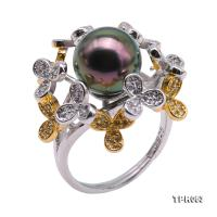 Beautiful 11mm Peacock Round Tahiti Pearl Ring in 925 Sterling Silver TPR063