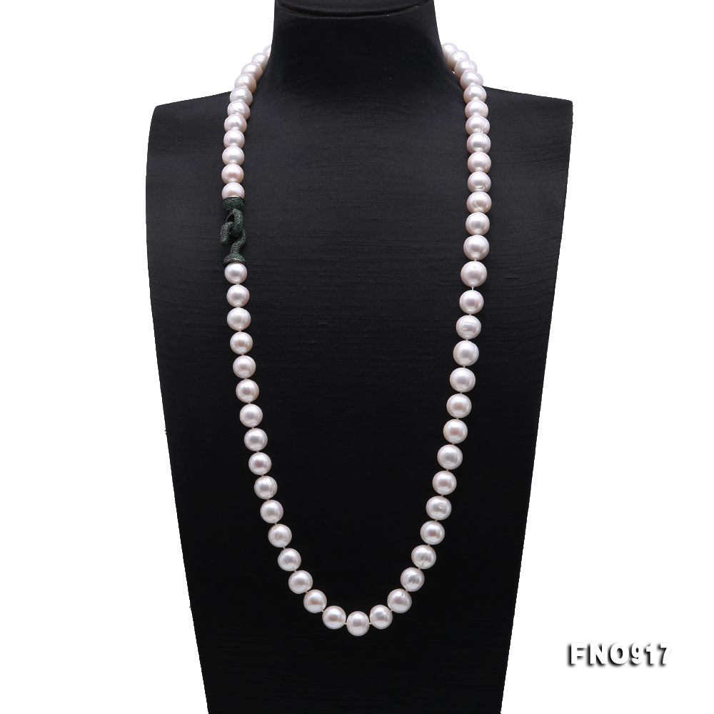 Huge Size 12.5-14mm White Round Freshwater Pearl Long Necklace big Image 1