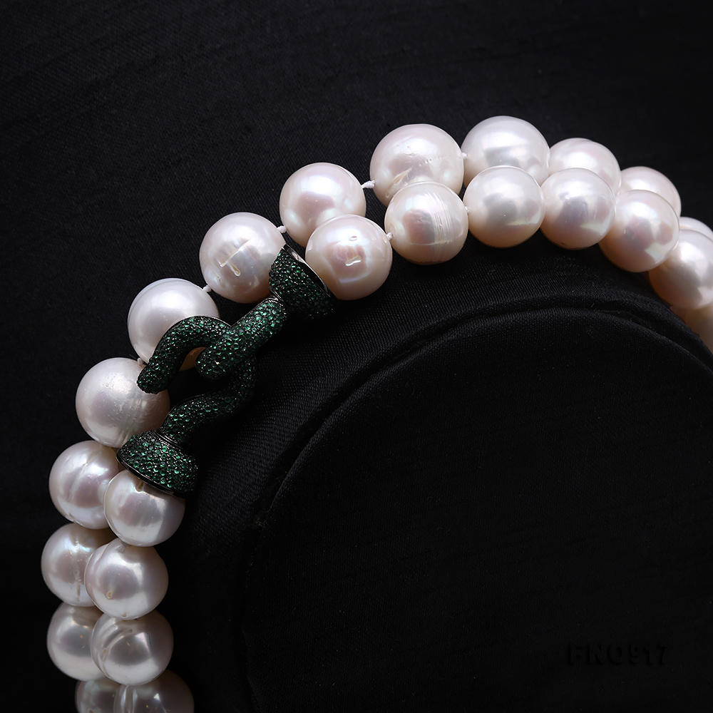 Huge Size 12.5-14mm White Round Freshwater Pearl Long Necklace big Image 2
