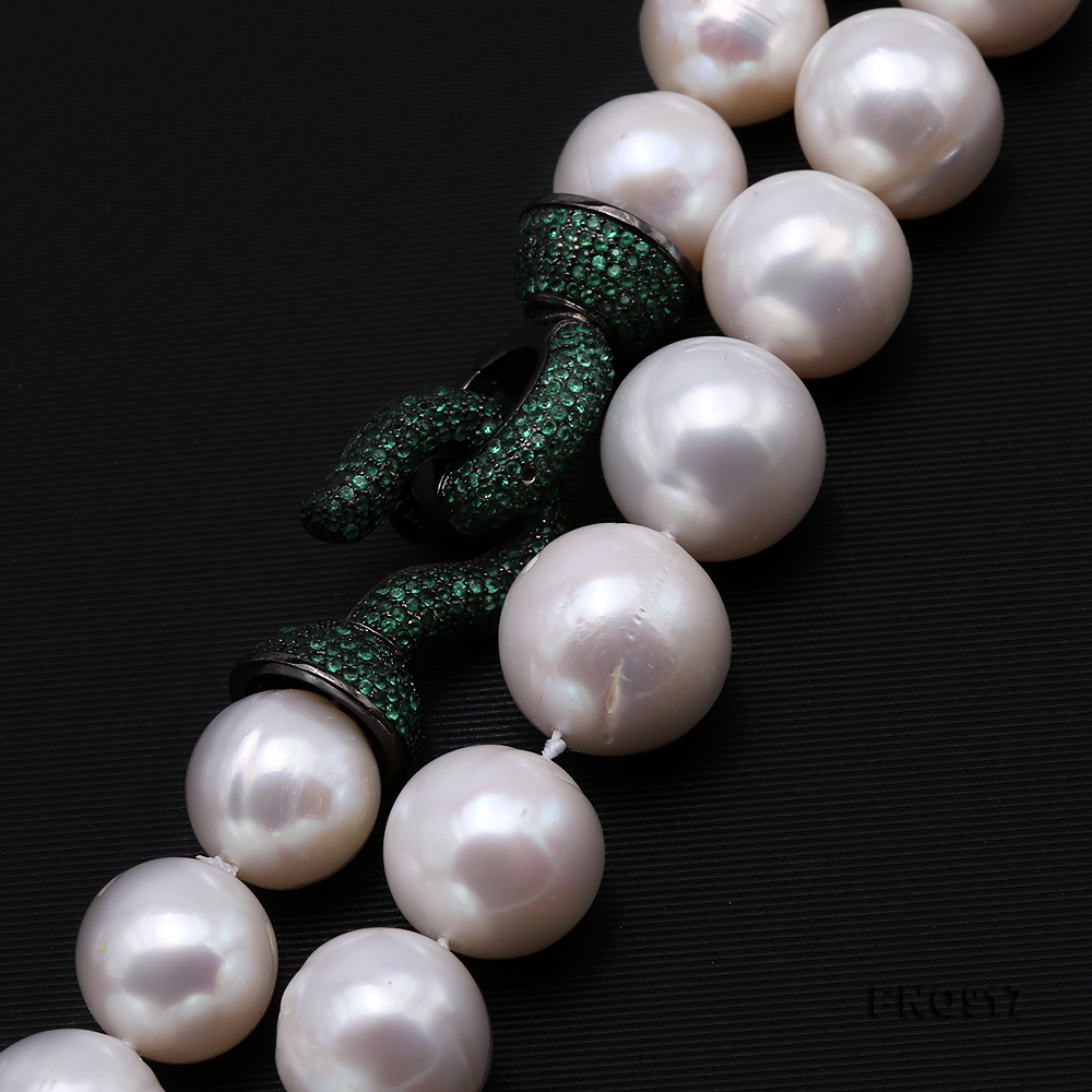 Huge Size 12.5-14mm White Round Freshwater Pearl Long Necklace big Image 3