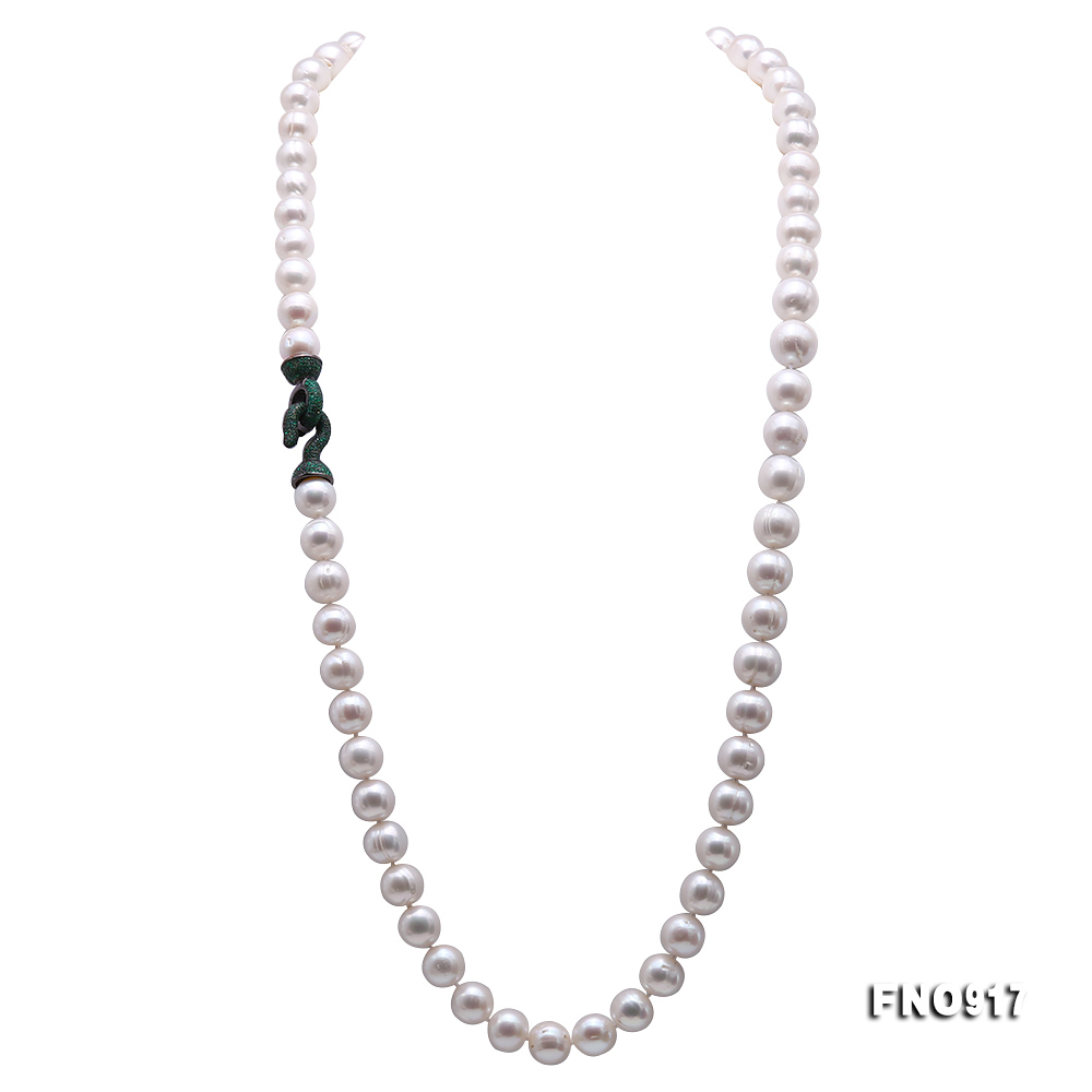 Huge Size 12.5-14mm White Round Freshwater Pearl Long Necklace big Image 6