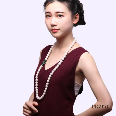 Huge Size 12.5-14mm White Round Freshwater Pearl Long Necklace FNO917 Image 8