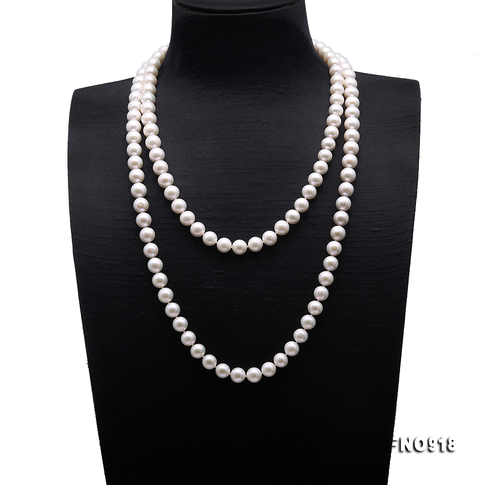 Classical 9-10mm White Round Pearl Long Necklace big Image 1