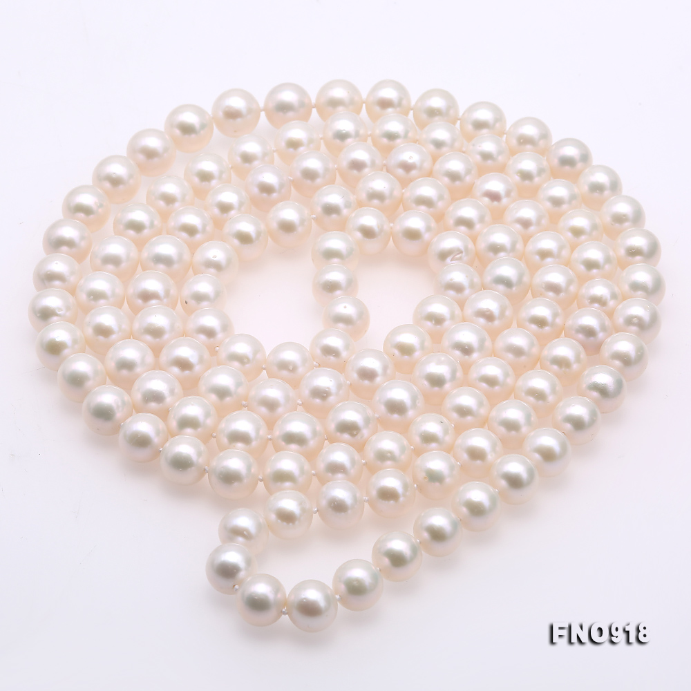 Classical 9-10mm White Round Pearl Long Necklace big Image 4