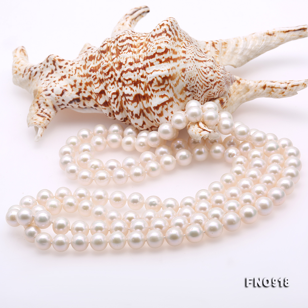 Classical 9-10mm White Round Pearl Long Necklace big Image 5