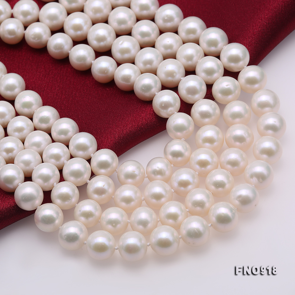 Classical 9-10mm White Round Pearl Long Necklace big Image 6