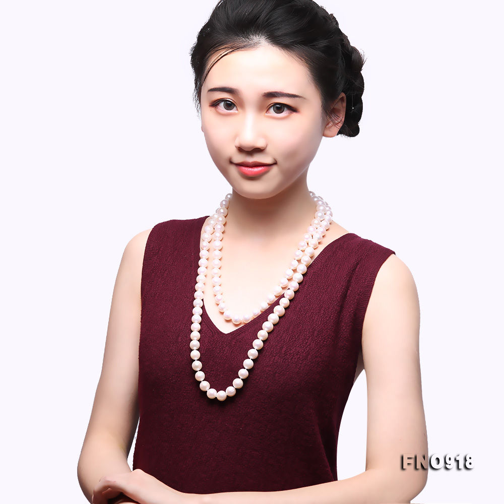 Classical 9-10mm White Round Pearl Long Necklace big Image 8