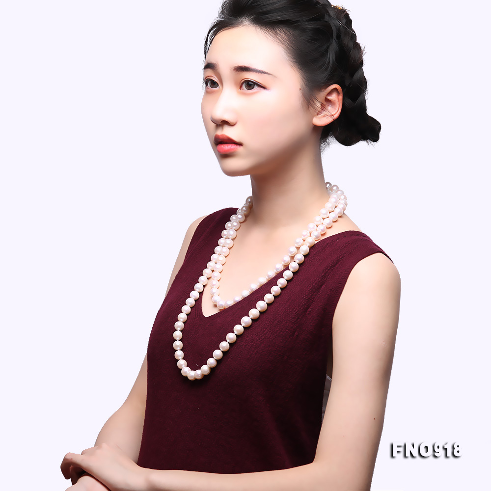Classical 9-10mm White Round Pearl Long Necklace big Image 9