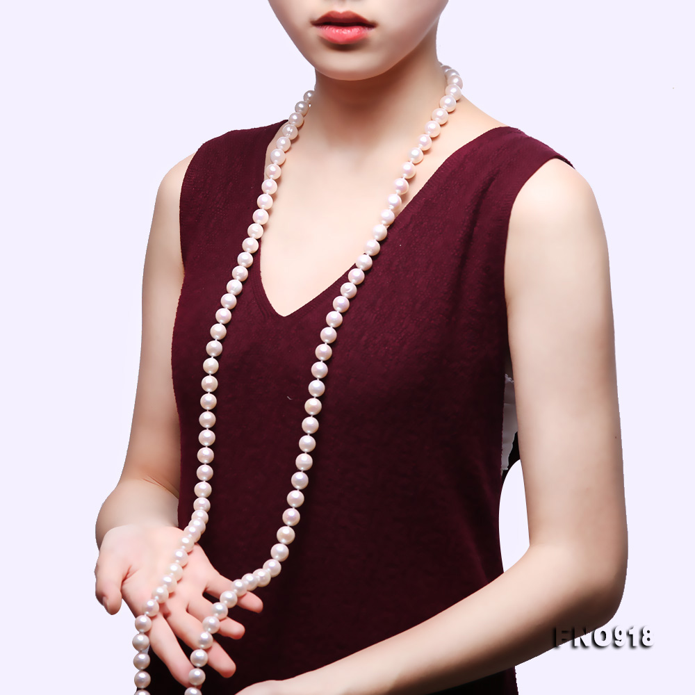 Classical 9-10mm White Round Pearl Long Necklace big Image 10
