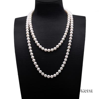 Classical 9-10mm White Round Pearl Long Necklace FNO918 Image 1