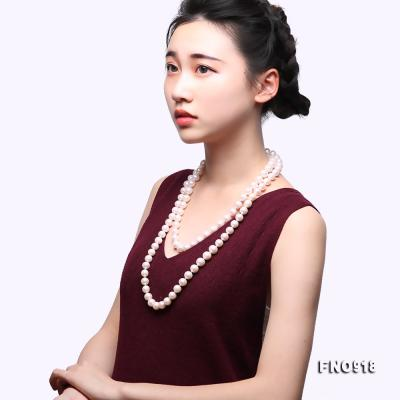 Classical 9-10mm White Round Pearl Long Necklace FNO918 Image 9