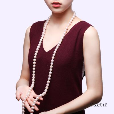 Classical 9-10mm White Round Pearl Long Necklace FNO918 Image 10
