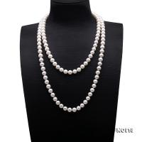 Classical 9-10mm White Round Pearl Long Necklace FNO918