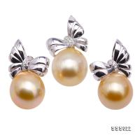 Luxury Set of 15x15.5mm Golden South Sea Pearl Pendant and Earrings in 18k Gold SSS022