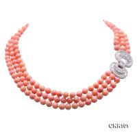 Beautiful Three-Strand 8mm Pink Coral Necklace CNR101