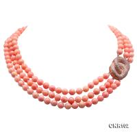 Beautiful Three-Strand 8mm Pink Coral Necklace CNR102
