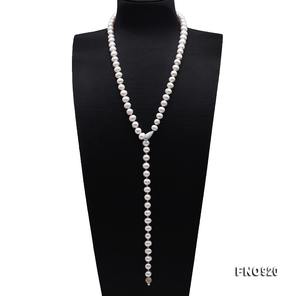 Graceful 10.5-11mm White Pearl Adjustable Long Necklace big Image 1