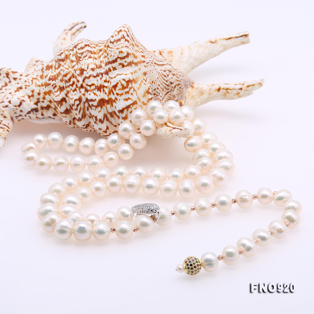 Graceful 10.5-11mm White Pearl Adjustable Long Necklace big Image 5