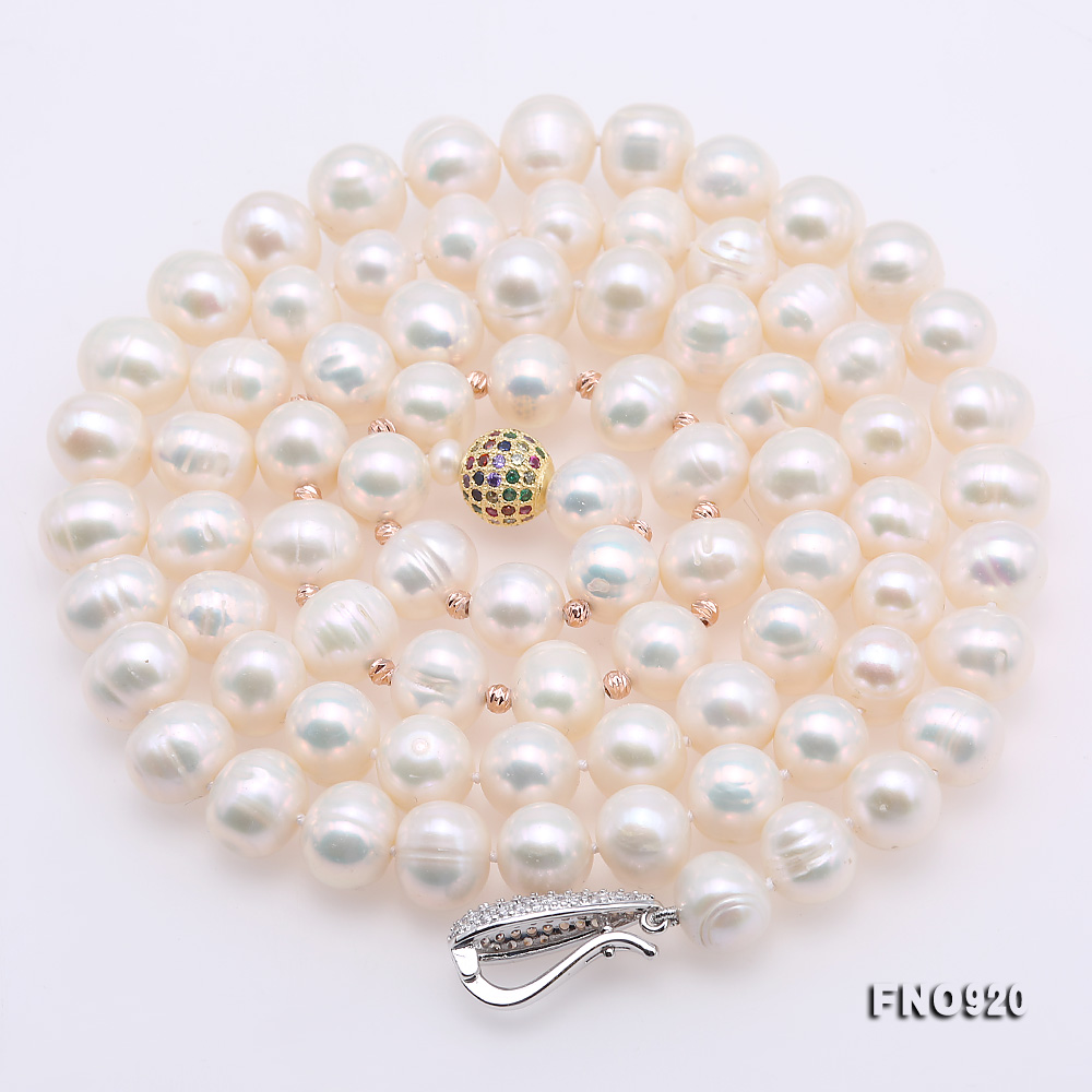 Graceful 10.5-11mm White Pearl Adjustable Long Necklace big Image 7