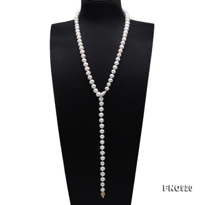 Graceful 10.5-11mm White Pearl Adjustable Long Necklace FNO920 Image 1