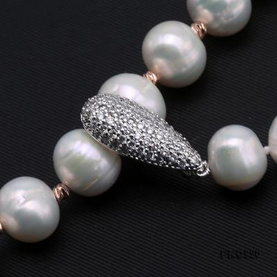 Graceful 10.5-11mm White Pearl Adjustable Long Necklace FNO920 Image 3