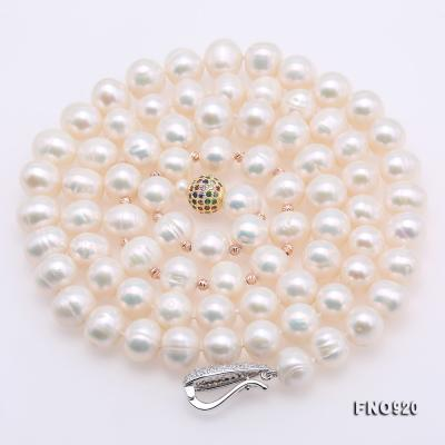 Graceful 10.5-11mm White Pearl Adjustable Long Necklace FNO920 Image 7