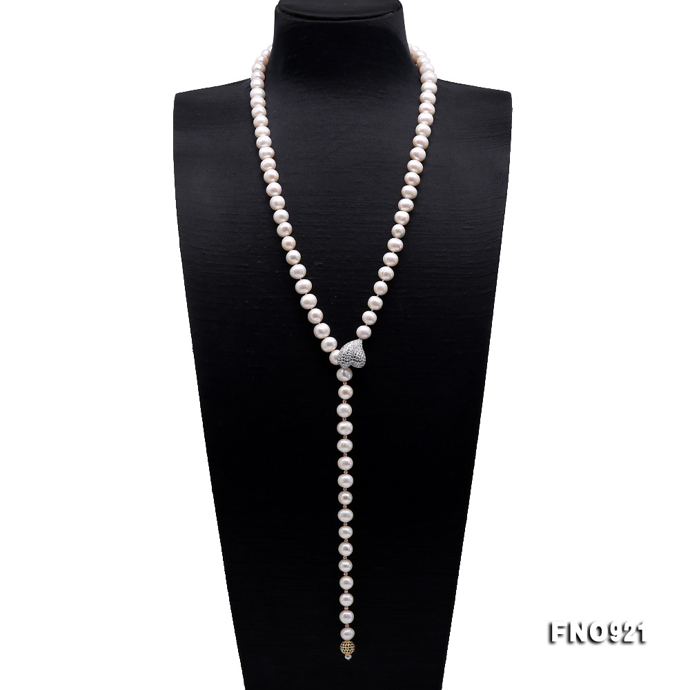 Graceful 10-11mm White Pearl Adjustable Long Necklace big Image 1