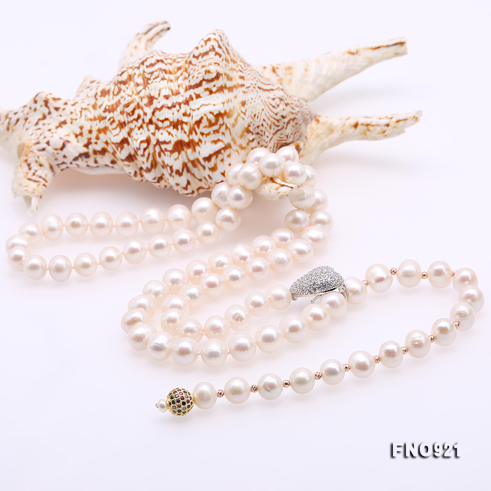 Graceful 10-11mm White Pearl Adjustable Long Necklace big Image 6