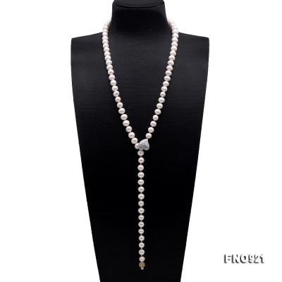 Graceful 10-11mm White Pearl Adjustable Long Necklace FNO921 Image 1