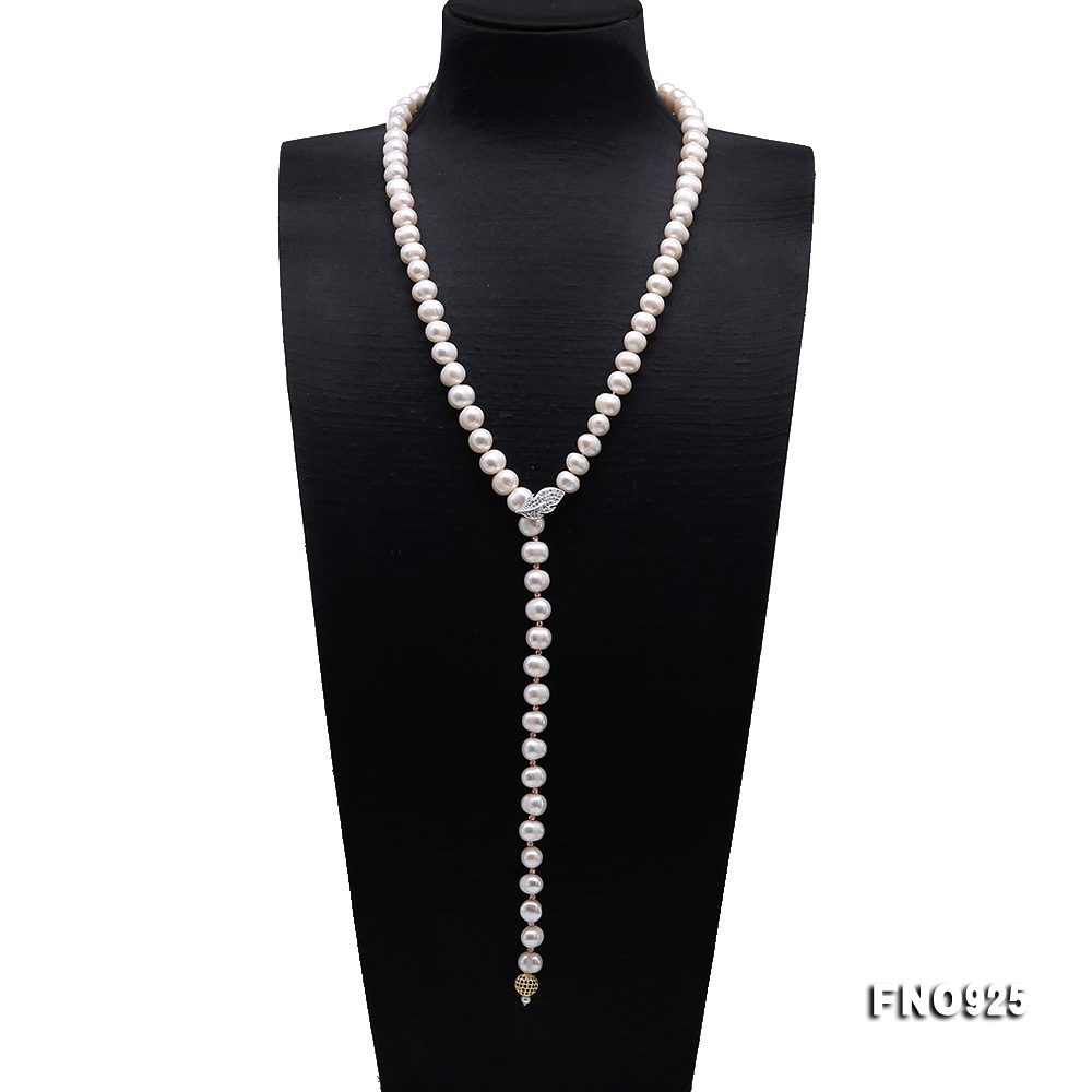 Graceful 10.5-11.5mm White Pearl Adjustable Long Necklace big Image 1
