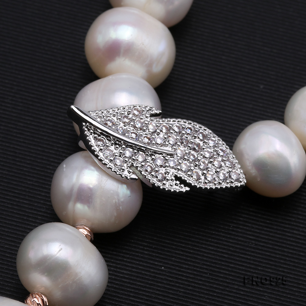 Graceful 10.5-11.5mm White Pearl Adjustable Long Necklace big Image 4