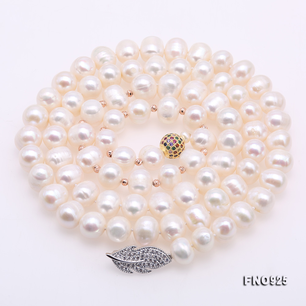 Graceful 10.5-11.5mm White Pearl Adjustable Long Necklace big Image 5