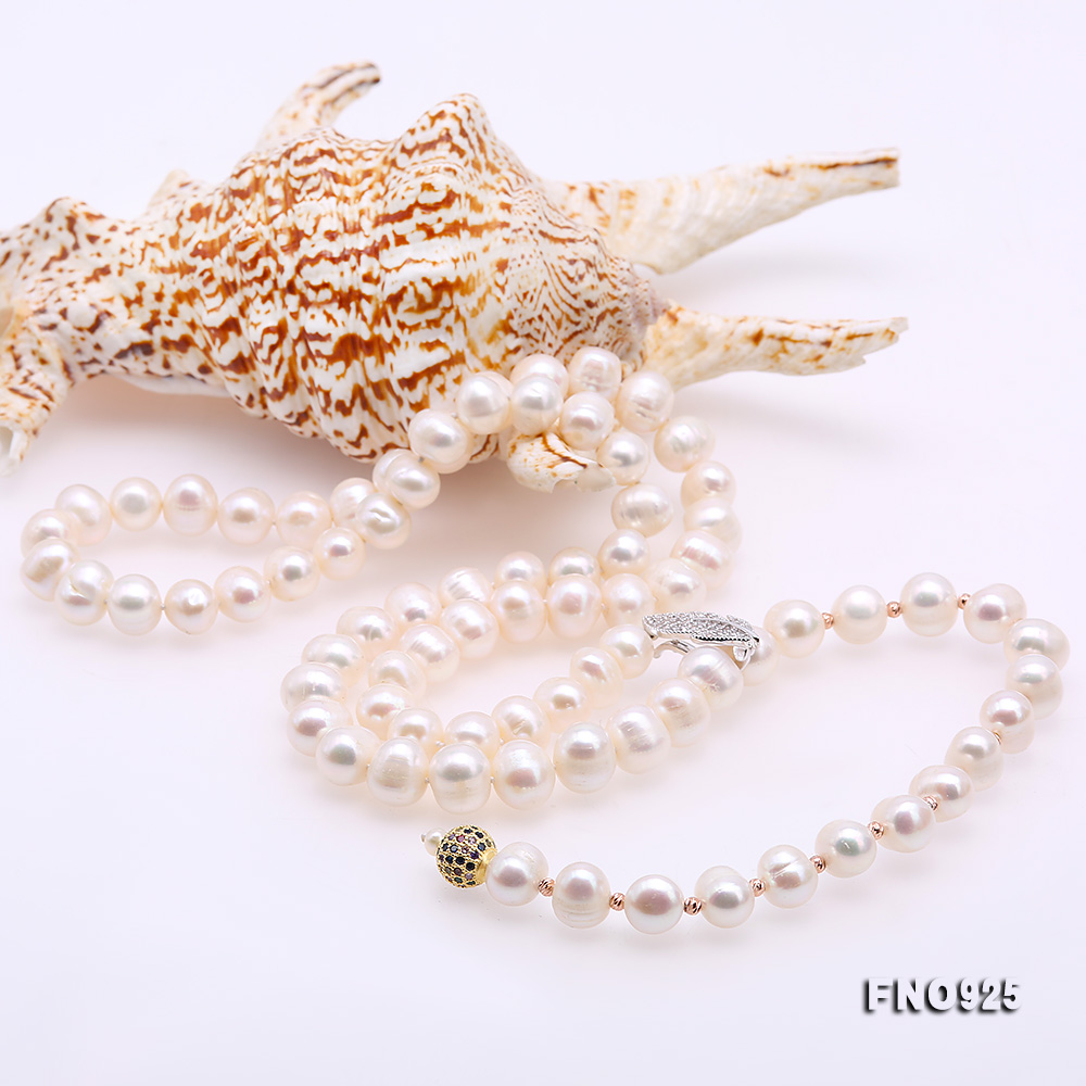 Graceful 10.5-11.5mm White Pearl Adjustable Long Necklace big Image 8