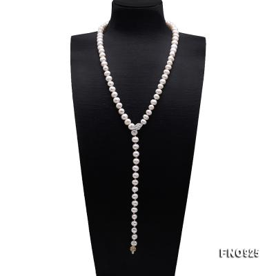 Graceful 10.5-11.5mm White Pearl Adjustable Long Necklace FNO925 Image 1