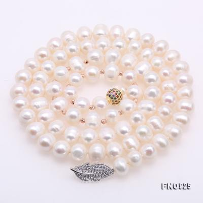 Graceful 10.5-11.5mm White Pearl Adjustable Long Necklace FNO925 Image 5