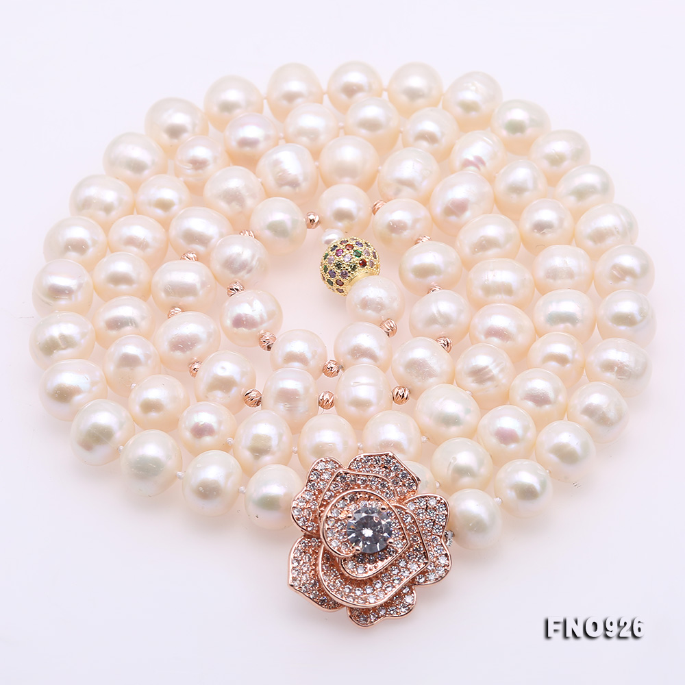 Graceful 10-11mm White Pearl Adjustable Long Necklace big Image 5
