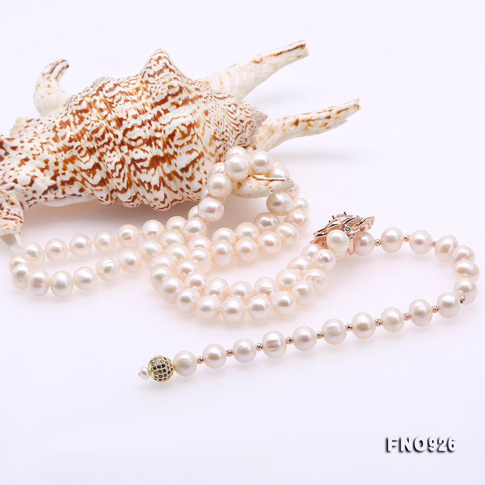 Graceful 10-11mm White Pearl Adjustable Long Necklace big Image 8