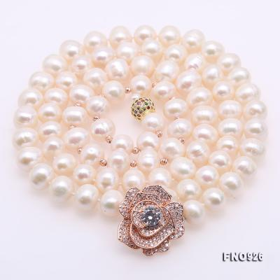 Graceful 10-11mm White Pearl Adjustable Long Necklace FNO926 Image 5